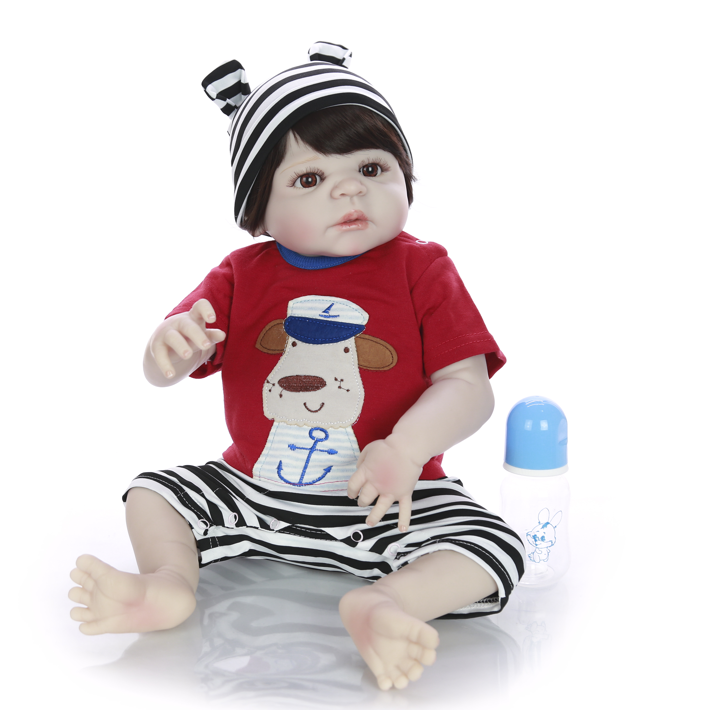 Offre spéciale poupées Reborn bébé jouet 23 ''57 cm Silicone corps vinyle réaliste bébé poupée garçon jouet à Sao Paulo enfants cadeau d'anniversaire-in Poupées from Jeux et loisirs    2