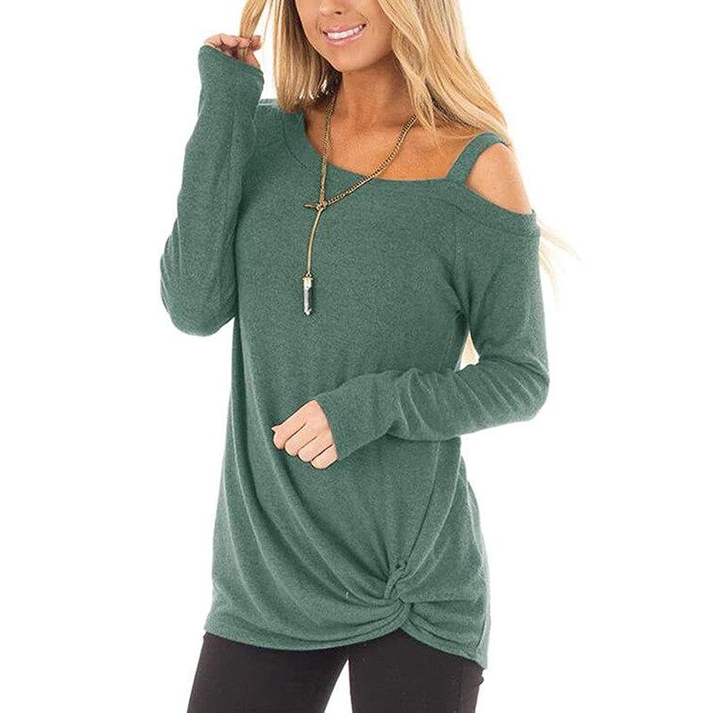 Модные женские футболки, сексуальные топы на бретелях с открытыми плечами, футболка с длинным рукавом, свободная повседневная рубашка SJ218V