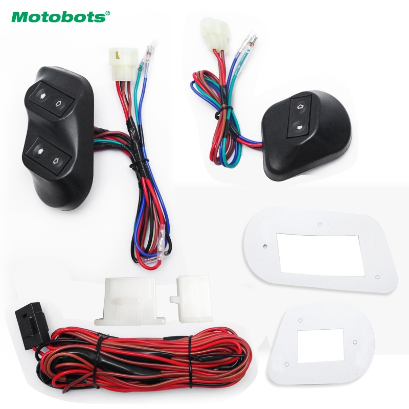 MOTOBOTS 1Set New Universal 12V/24V 3pcs Buttons Car Power Window Switches With Holder & Wire Harness #AM3938