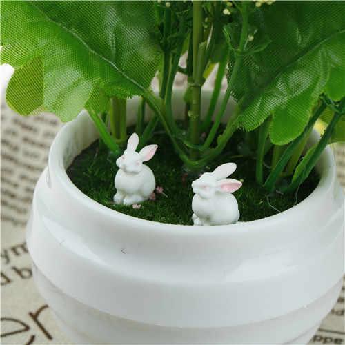 Mini Cute Easter Mikro Lanskap Kelinci Hewan Peri Dekorasi Taman Rumah Boneka Terarium Paskah Dekorasi Mainan Kira-kira: 15*15 Mm