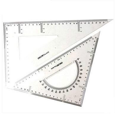 DELI 6430 High Quality Plastic Ruler Student Drawing Ruler Triangle Ruler With Protractor 30cm School Line Regla Rule Paperalia