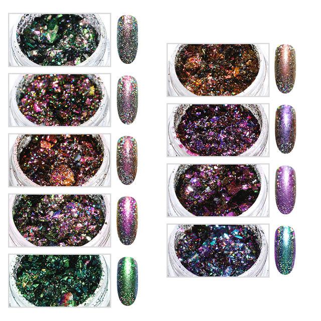 1 Box Holographic Chameleon Nail Glitter Powder