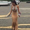 Duas Peças Vestidos de Baile Cristais Frisada Sexy Frente Recorte Chiffon Prom Vestidos Moda Longo Formal Evening Vestidos HD-136