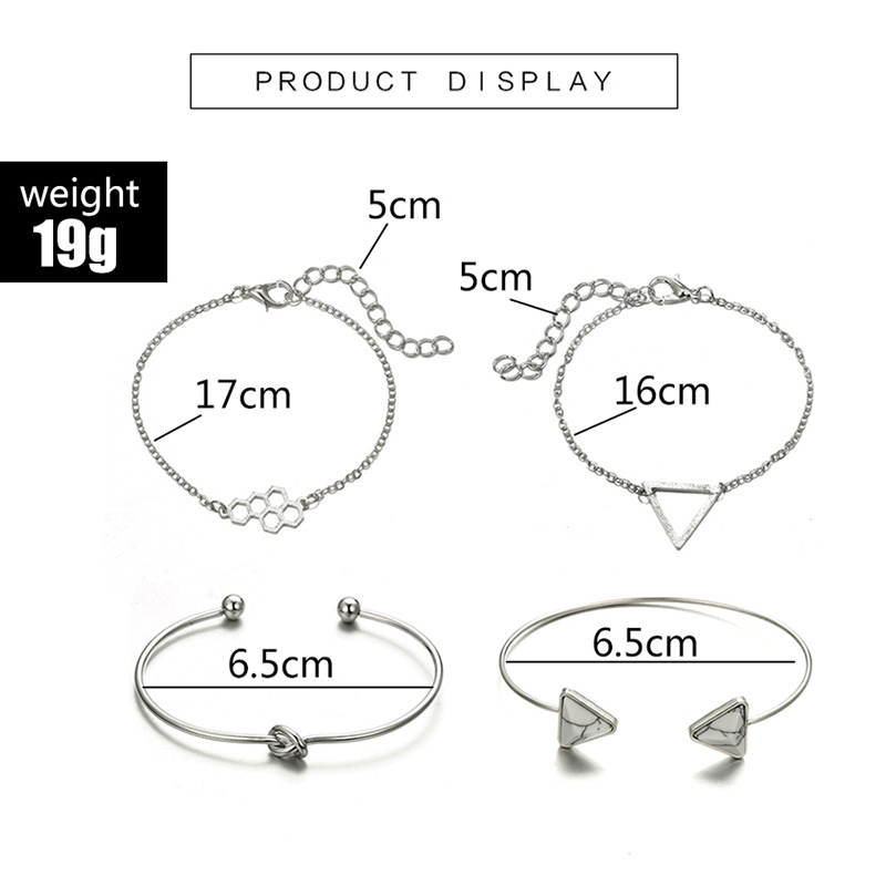 Bohemian Vintage Triangle Marble Stone Bracelet Sets Weave Honeycomb Type Silver Color Chain Bracelets For Women Jewelry Gifts in Chain Link Bracelets from Jewelry Accessories