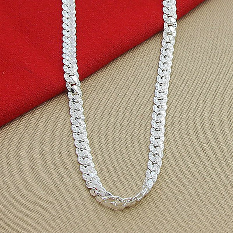 Wholesale Price 6MM Full Sideways Necklace for Women Men 925 Sterling Silver Jewelry Snake Chain Necklaces