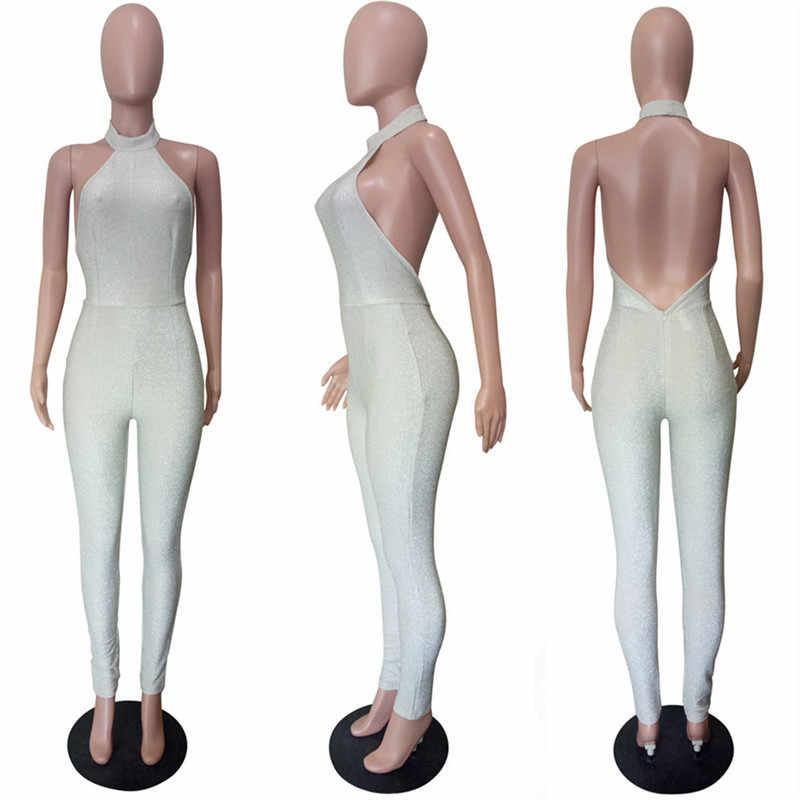 Сексуальная Холтер Блестящий Комбинезон для Для женщин без рукавов с открытой спиной Облегающий комбинезон Тощий ночной одежда для клуба, для вечеринки комбинезон женский комбинезон