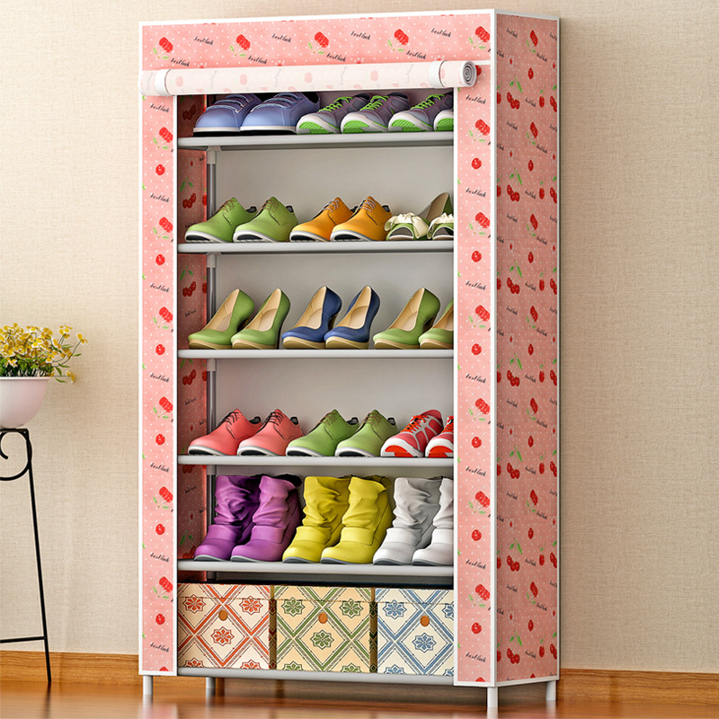 Shoe cabinet 6-grid Pattern Non-woven fabrics large shoe rack organizer removable shoe storage for home living room furniture 7 layer 6 grid shoe cabinet non woven fabrics shoe rack organizer removable shoe storage for home living room furniture