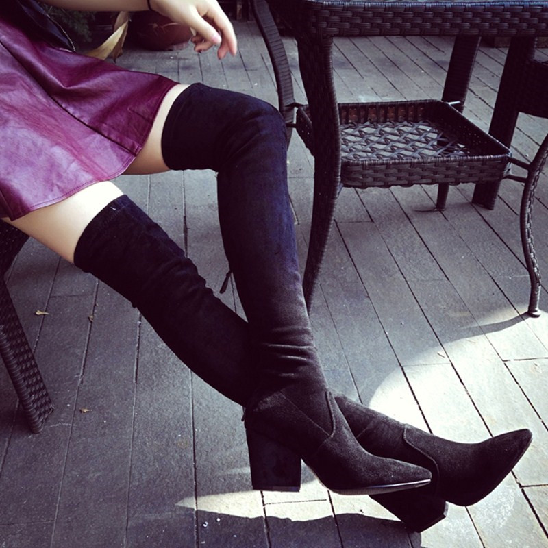 Autumn/Winter Pointed Toe Over-the-knee Zipper Stretch Boots Women Sexy High Heel Flock Botas Femeninas Black Wine Casual Boots стоимость