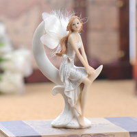Ornaments Home Beautiful Figure Moon Angel Resin Home Decoration Accessories Fairy Garden Miniatures Vintage Home Decor