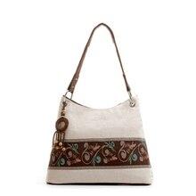 Frauen Handtasche Folk-stil Vintage Leinen Leinwand kreuzkörper Schulter Taschen Bolsa Feminina Nationalblume Druck Tasche C78-73