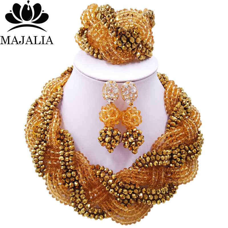 Majalia African Classic Women Jewelry Set Gold champagne golden color Nigerian Wedding Jewelery Sets 12CB0028