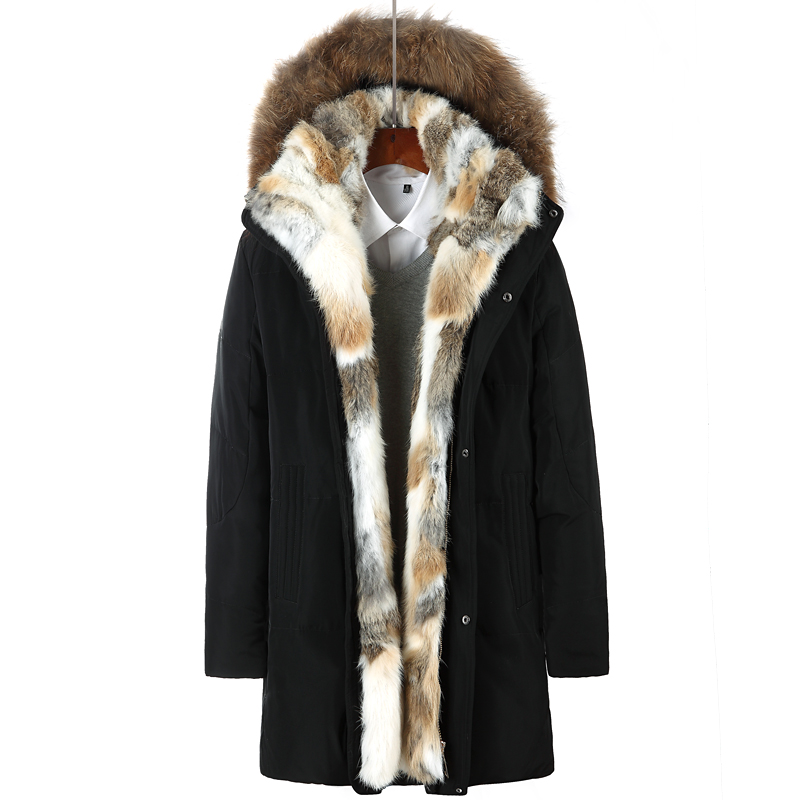 Drop shipping Men's and Women's  Leisure Down Jacket Winter Thick Hood  Detached Warm Waterproof Big Raccoon Fur Collar ABZ58
