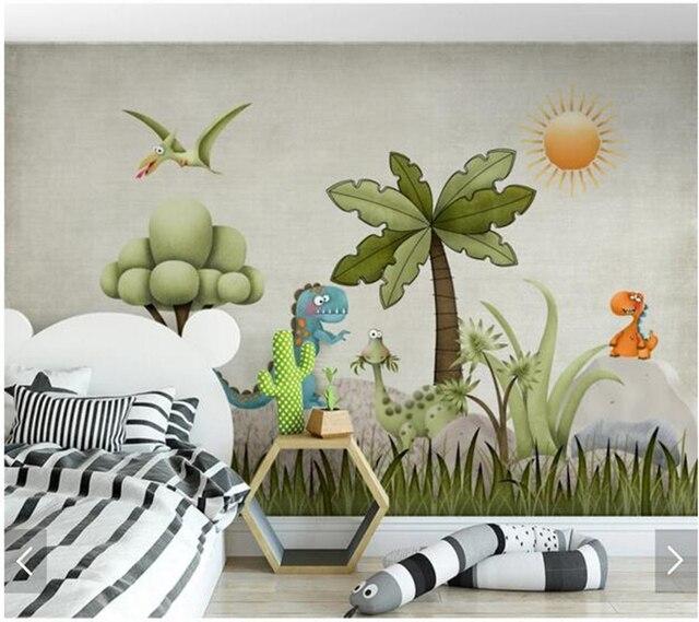 Custom Children S Wallpaper Cartoon Dinosaur Murals For Room Boy And Bedroom Wall Decoration