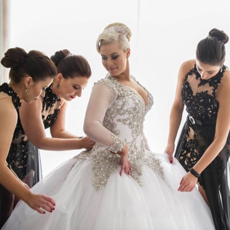 Online get cheap wedding dresses bling for Plus size bling wedding dresses