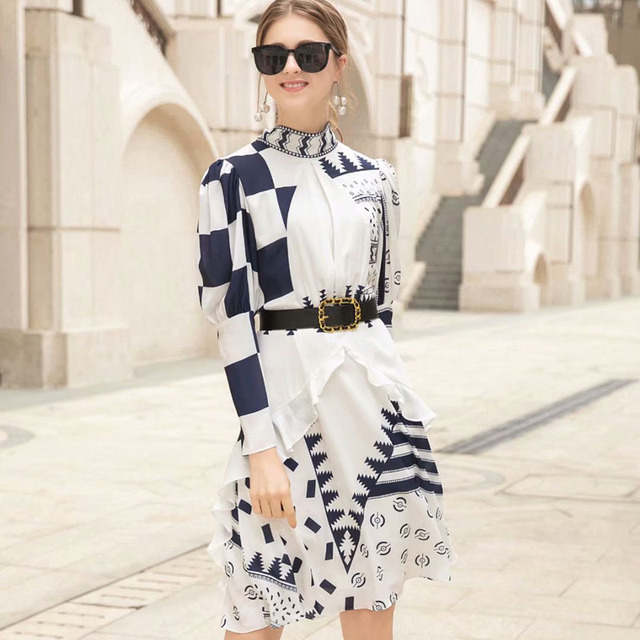 New Fashion Spring Dress 2019 Women's Brand Designer Runway Dress Long Sleeve Bow Tie Geometric Print Knee Length Casual Dress