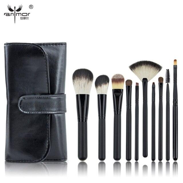 10 UNIDS de Cepillo Del Maquillaje Negro Pinceles de Maquillaje Profesional Pinceles de Maquillaje Con la Bolsa de Negro
