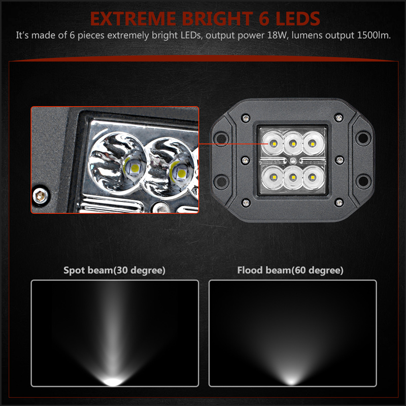 Image 2 - 18W Car Headlight LED Work Light Bar Spotlight for Off Road ATV UTV Kamaz UAZ 4x4 car boat Auto Driving Fog Light Car StylingLight Bar/Work Light   -