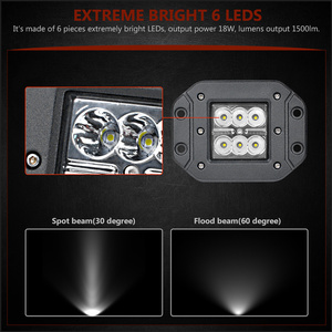 Image 2 - Barre lumineuse de travail, projecteur, pour voiture hors route, ATV UTV Kamaz UAZ 4x4, éclairage antibrouillard pour voiture, 18W LED de phare de voiture