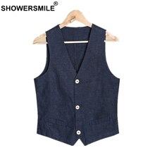 SHOWERSMILE Mens Summer Vest Navy Blue Linen Plus Size Waistcoat Cotton Flax Blends Thin Casual Male Sleeveless Jacket