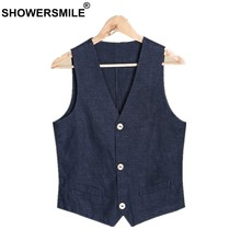 SHOWERSMILE Mens Summer Vest Navy Blue Linen Vest Plus Size Waistcoat Cotton Flax Blends Thin Casual Male Sleeveless Jacket(China)