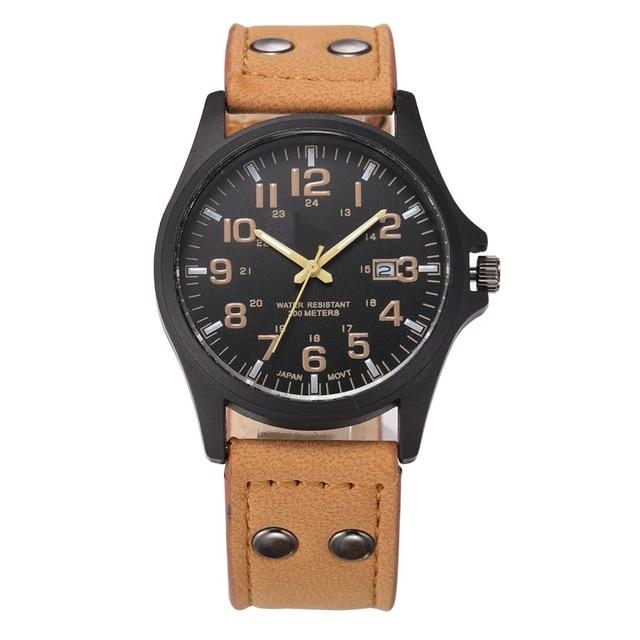 240c07e4cb7 Baratos Por Atacado Dos Homens Relógios Pulseira De Couro Data Homem  Relógio Militar Do Exército Relógio