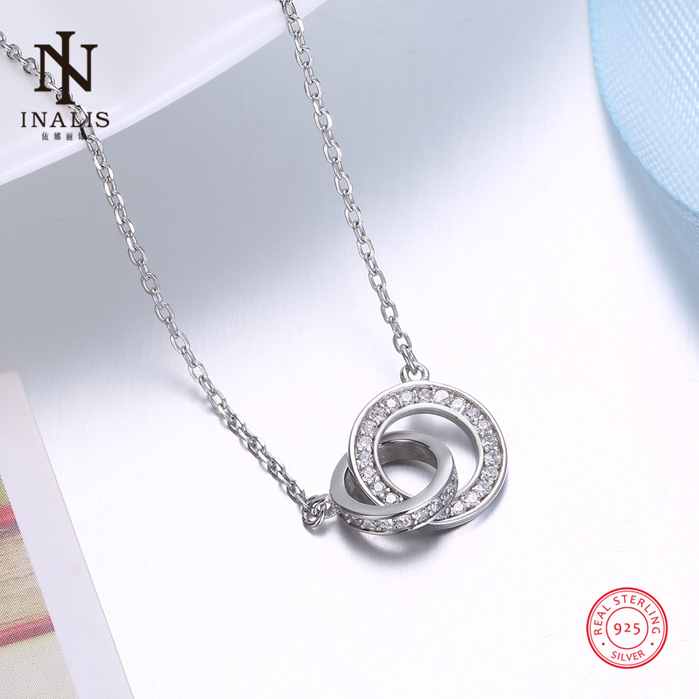 INALIS 925 Sterling Silver Necklace Inlaid Zircon Double Circle Pendant Necklace For Women Girl Female Jewelry Wedding Gift tardoo crossed double circle necklace 925 silver simple double circle gold necklace women fine jewelry hoop pendant necklace