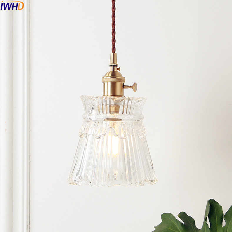 IWHD Nordic Copper Glass Pendant Light Fixtures Bedroom Living Room Loft Pendant Lights Hanging Lamp Luminaire Lighting
