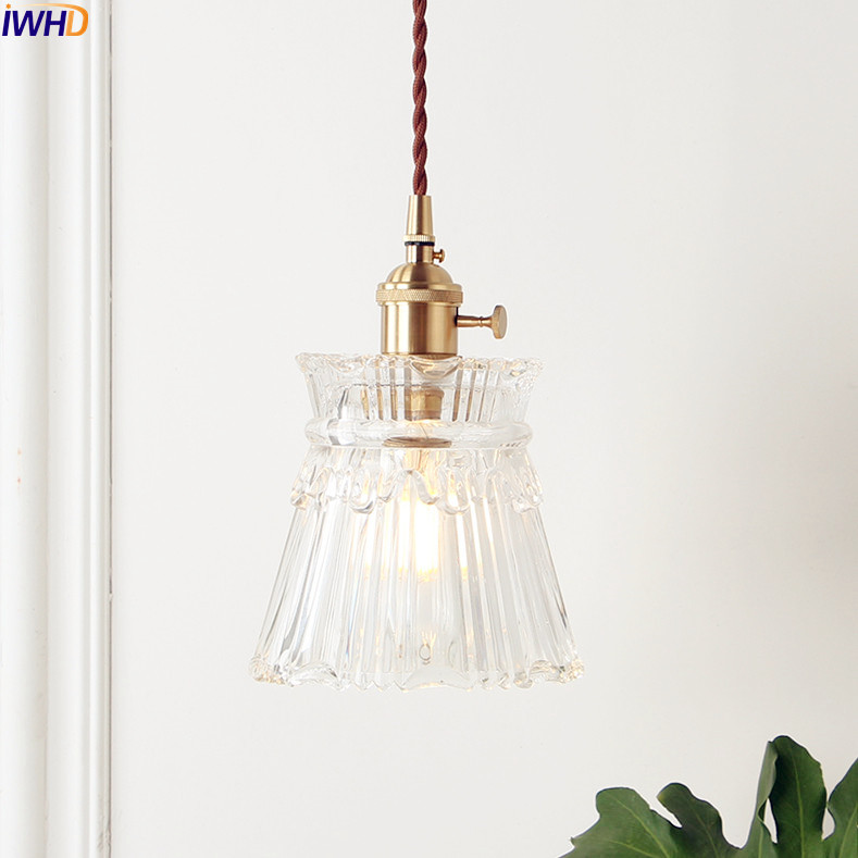 IWHD Nordic Copper Glass Pendant Light Fixtures Bedroom Living Room Loft Pendant Lights Hanging Lamp Luminaire Lighting-in Pendant Lights from Lights & Lighting