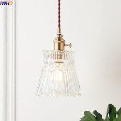 Iwhd nordic cobre pingente de vidro luminárias quarto sala estar loft luzes pingente lâmpada pendurada iluminação