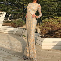 2018 Sexy Glitters Full Sleeved Bodycon Party Dress Back Zipper O Neck Floor Length Autumn Winter