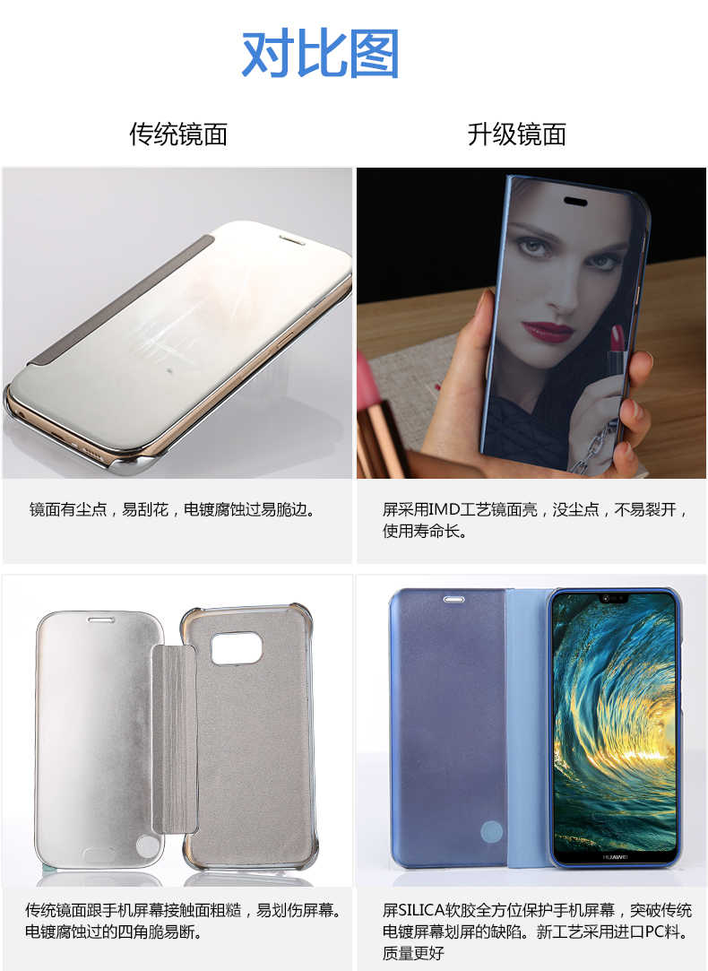 HUAWEI case Smart Clear View Mirror cover For P8 P9 P10 P20 Lite Plus For Mate 10 20 lite pro honor 10 9 8 nova 3 3i flip Case
