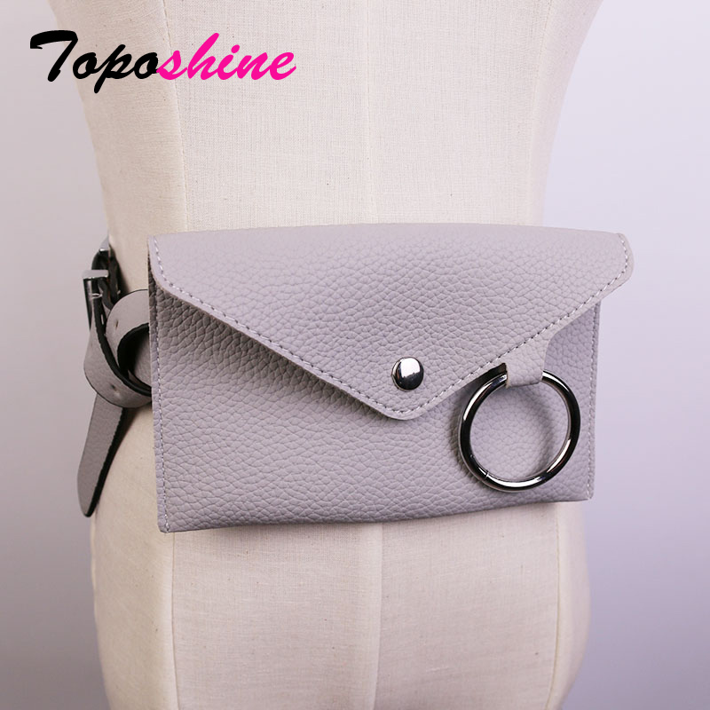 Toposhine Women Waist Bag solid color Women Belt Bags black white PU leather mini-bag long belt women fashion PU leather belt black lace up pu obi belt