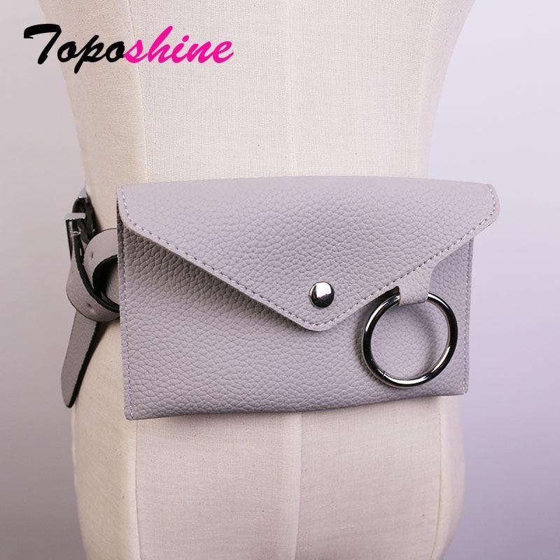 Toposhine Women Waist Bag solid color Women Belt Bags black white PU leather mini-bag long belt women fashion PU leather belt