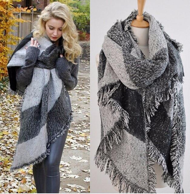 04ed926297b Cachemire laine couverture écharpe Cape echarpes foulards femme 2016  fulares mujer femmes hiver chaud tuque coton
