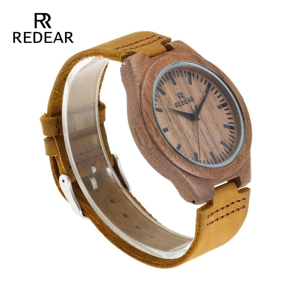 REDEAR Klasyczny projekt marki Zegarki z drewna orzechowego z - Zegarki damskie - Zdjęcie 3