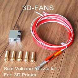 Kit do bocal do vulcão da impressora 3d e3d-12 v ou 24 v vulcão hotend extrusão de alumínio bloco cartucho termistores + 5 bocal