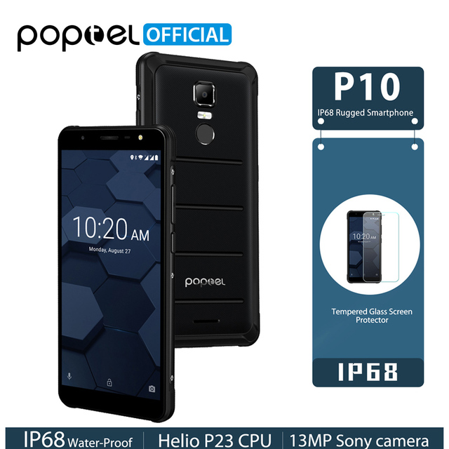 POPTEL P10 Helio P23 Android 8.1 IP68 Rugged Phone 5.5inch 4GB 64GB Octa Core 13MP Fingerprint Touch ID NFC 4G LTE Smartphone