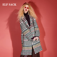ELF SACK Winter New Woolen Coat Woman Plaid Blends Turn down Collar Casual Full Wool Women Jacket Femme Streetwear Jackets Coats