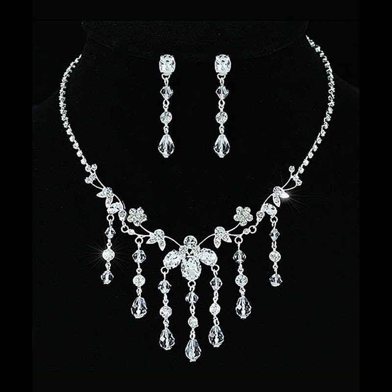 Wholesale Bridal Wedding Handmade Crystal Necklace Earrings Set CS1197