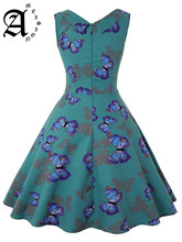 Ameision Butterfly Printed Sweetheart Vintage Women Dress Summer Sleeveless High Waist Swing Party Retro Dresses Robe