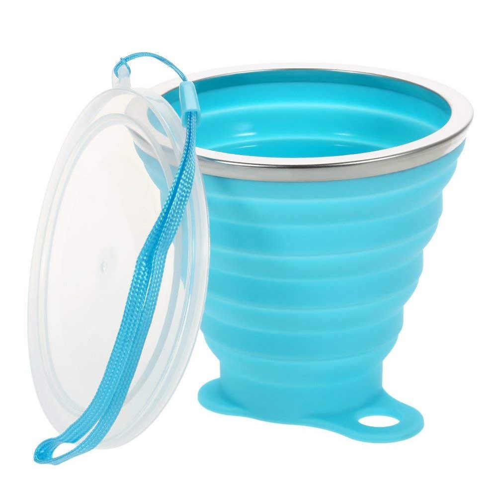 Hyuuga 270 мл дорожные силиконовые выдвижные складные чашки цветные портативные открытые кофейные чашки с чашкой из нержавеющей стали