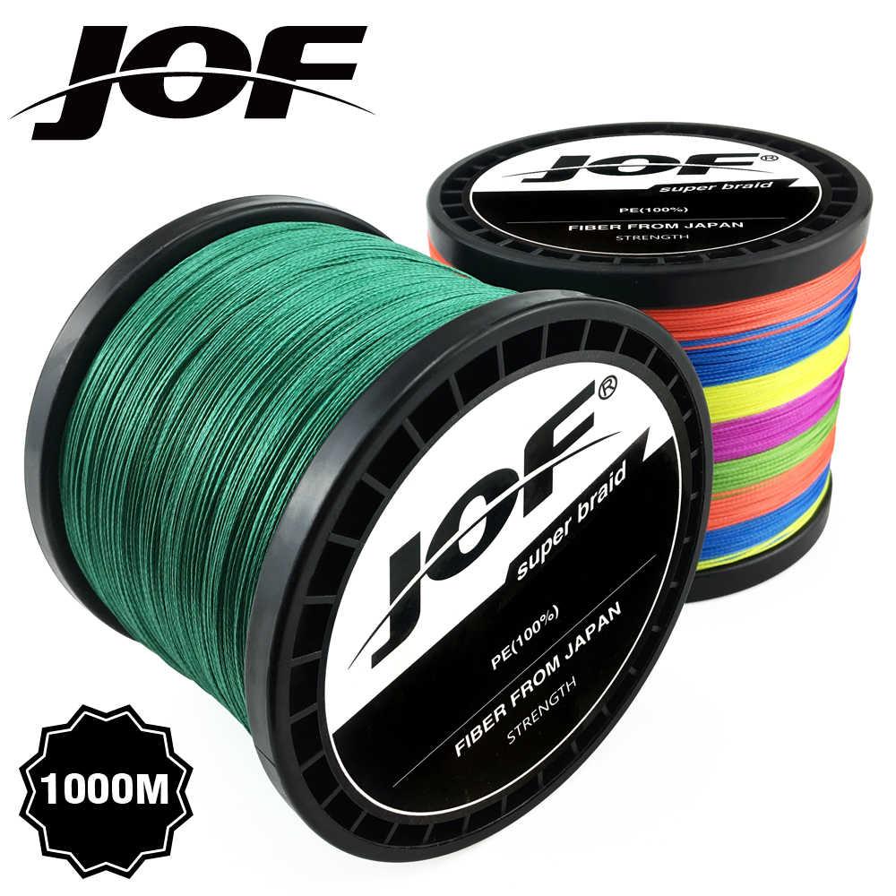 JOF, 300M, 500M, 1000M, 8 hebras, 4 hebras, 18-88LB, alambre de pesca trenzado, multifilamento, hilo de pescar súper fuerte, Japón, Multicolor
