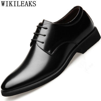 Elevator Shoes For Men Winter Boots Office Italian Mens Genuine Leather Dress Zapatos De Hombre Vestir Formal - discount item  52% OFF Men's Shoes
