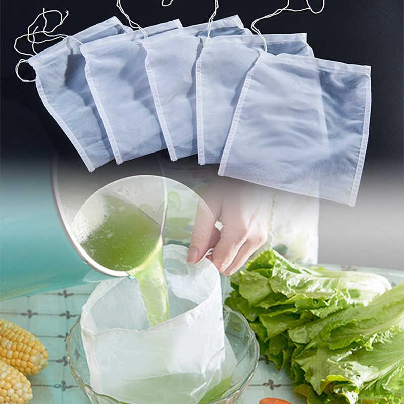 1Pcs ไนลอน Teabags ถุงชาที่ว่างเปล่าตาข่ายถุงกรองเครื่องกรองอาหารชีส Maker กาแฟกรองชาถุงนม s/M/L/XL ขนาด