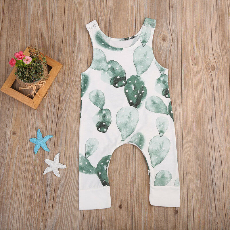Toddler /Baby Girl Boy Cactus Sleeveless   Romper