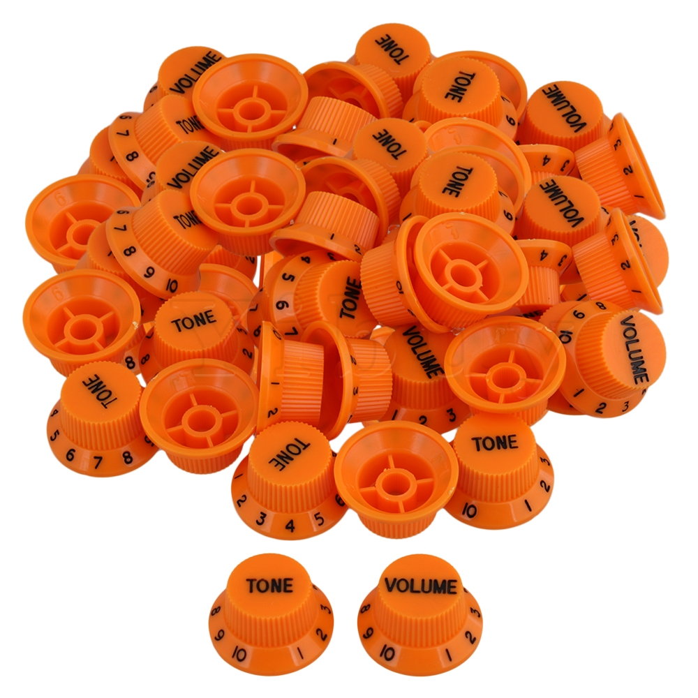 Yibuy 5.5mm Dia Hole Orange Plastic Electric Guitar 1 Volume 2 Tone Control Top Hat UFO Hut Bell Knobs with Black Numbers Scale