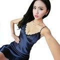 Женская мода лето дизайн кружева pijamas ночная рубашка мягкая темно-синий шелковый атлас V-образным Вырезом ночное девушка ночь платье сексуальное женское белье