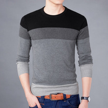 M-3XL Men's Sweater Autumn and Winter New Style Patchwork Color Round Neck Korean Version of The Hit - Bottom Shirt Sleeve Knit