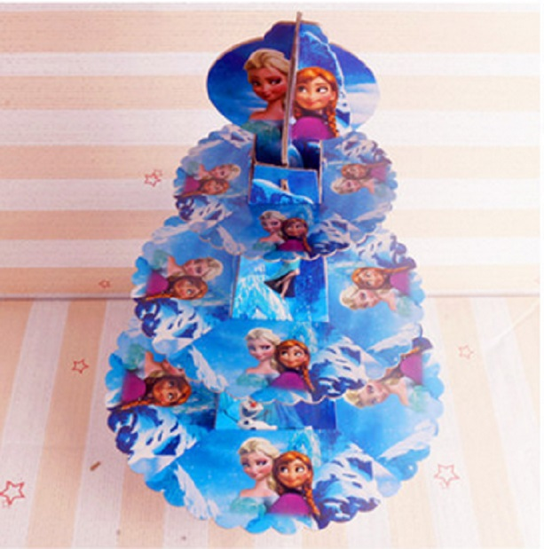 1 Set Snow Queen Elsa Dan Anna Childrens Birthday Party Supplies Paper Three Layer Cake Support Dessert Tray In Decorating From Home