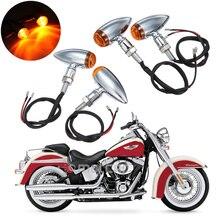 цена на New 4pcs Chrome Motorcycle Bullet Turn Signal Light Indicator Amber Blinker 10mm Fit For Harley Choppers Metric Bobber Cruiser